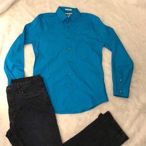 🎉 Teal 1MX Express Men's Dress Shirt 🎉